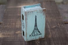Blue Paris Wooden Box Wedding Box  Treasury  by MyHouseOfDreams, $24.00
