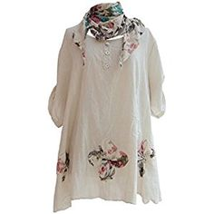 Ladies Womens Lagenlook Quirky Layering Floral Print Scarf Tunic Top Shirt Cotton One Size Plus Loose