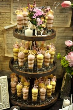 Pudding Dessert Shots - Vintage-inspired dessert shots complete the look as part of this charming vintage dessert station! #wedding #dessert #pudding #shots #shooters