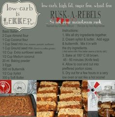 Banting Rusks Low-carb is lekker keto pescatarian recipes; Sweet Recipes, Real Food Recipes, Cooking Recipes, Cooking Kids, Cooking 101, Quick Recipes, Low Carb Desserts, Low Carb Recipes, Diabetic Recipes