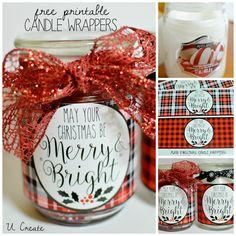 Plaid Christmas Candle Wrapper Printables by U Create