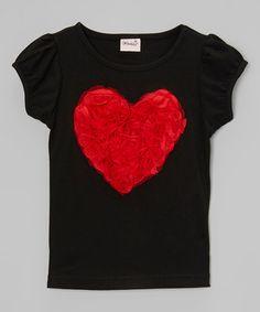Love this Black Rose Heart Tee - Infant, Toddler & Girls on #zulily! #zulilyfinds