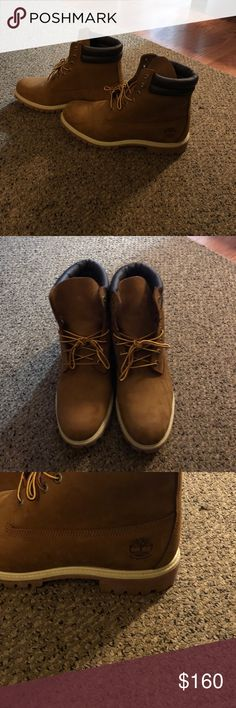 Men's timberlands size 12w Like new, my boyfriend worn them ONCE and they were too tight .... he's a 13 but thought a 12w would work, so if your a 12 your good :) Timberland Shoes Boots