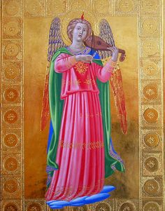 Musician Angel (after Fra Angelico) - egg tempera and gold leaf on ...