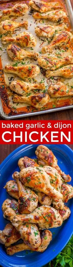 Baked Chicken Legs recipe with garlic, lemon and dijon. An easy and excellent chicken marinade with so much flavor. Learn the secret to great chicken legs! | natashaskitchen.com #chickenlegs #chickendinner #chickendrumsticks