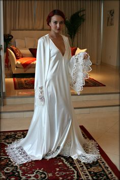 Satin Bridal Robe Wedding Trousseau Satin Sleepwear Wedding Robe Bridal Lingerie Venise Lace Satin Wedding Lingerie Lace Robe – My Wedding Dream Lingerie Xxl, Wedding Lingerie, Lingerie Dress, Bridal Nightgown, Bridal Robes, Bridal Lace, Wedding Robe, Wedding Dresses, Mode Kimono