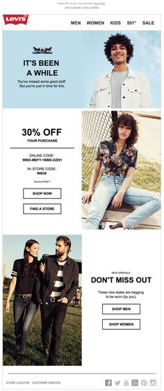 Re-engagement email design from Levi's. Email Marketing Design, Marketing Ideas, Marketing Tools, Engagement Emails, Private Brand, Email Design Inspiration, Best Email, Brand Management, Email Newsletters