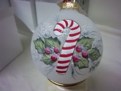 Ornament, Candy Cane with Holly and Berries, Hand-painted on Frosted Glass Bulb, Christmas Keepsake. $18.00, via Etsy.