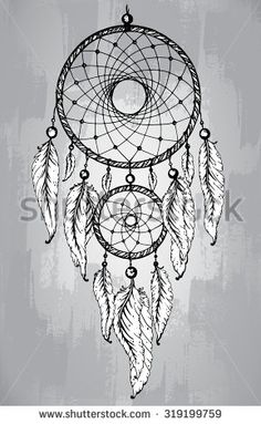 Dream catcher with feathers, in line art style. Hand drawn sketch vector illustration for tattoos or t-shirt print. - stock vector