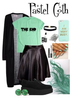 """""""Pastel Goth"""" by xxmonnyxx ❤ liked on Polyvore featuring SH Collection, Betsey Johnson, Karl Lagerfeld, Topshop and ban.do"""