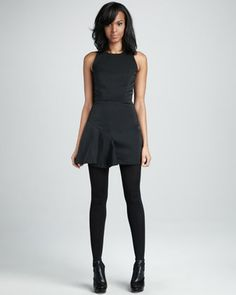 Saxon Satin-Panel Dress, Black by Milly at Neiman Marcus.