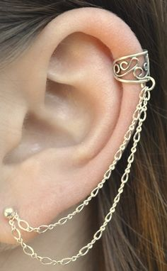 Filigree ear cuff with double chain to post