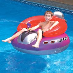 Protect your pool from invaders with a Swimline UFO Pool Float Squirter. Features a built-in squirter that draws from the pool. Ufo, Inflatable Pool Toys, Inflatable Island, Inflatable Float, Pool Rafts, My Pool, Pool Fun, Kids In Pool, Pool Floats For Kids