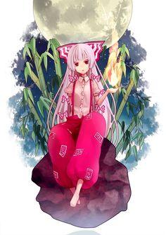 Fujiwara no Mokou Manga Art, Manga Anime, Anime Art, Shrine Maiden, Look At The Moon, Anime Child, Monster Girl, Light Novel, Kawaii Anime Girl