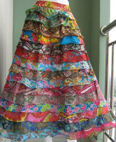 larga Via a Diseño mano Nepal Boho Gypsy de hecho cruzada Etsy Falda Hippie 4CawznqSC