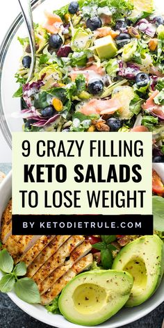 Looking for some easy and delicious low-carb salads that can easily fit into a keto diet plan. From chopped to Cobb, these protein-rich and carb-free filling keto salads will help you lose weight and reach ketosis. Enjoy these yummy keto salads Ketogenic Recipes, Low Carb Recipes, Diet Recipes, Healthy Recipes, Ketogenic Diet, Carb Free Meals, Dessert Recipes, Protein Rich Recipes, Carb Free Foods