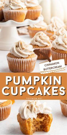 Pumpkin Cupcakes, Baking Cupcakes, Pumpkin Dessert, Cupcake Recipes, Cupcake Cakes, Dessert Recipes, Cup Cakes, Dessert Ideas, Pumpkin Pie Oatmeal