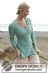 """9e3e577ccf6d7e Grace - Knitted DROPS fitted jacket with lace pattern and ¾ sleeves in  """"Muskat"""" or """"Cotton Light"""". Size  S - XXXL. - Free pattern by DROPS Design"""