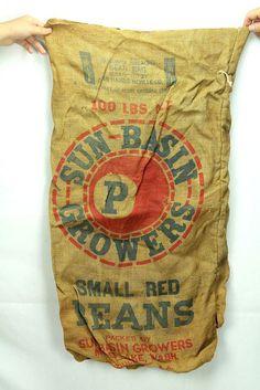 Vintage Washington Moses Lake Sun Basin Growers Beans Advertising Burlap Bag