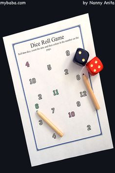 Maths Game. Roll the dice, count the dots and colour in the number. Free downloadable worksheets Math Games, Maths, Math Boards, Simple Math, Dice, Counting, Worksheets, Activities For Kids, Rolls