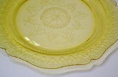 Vintage Yellow Depression Glass Plate Federal Glass Patrician Spoke Platter panchosporch