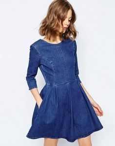 ASOS Denim Skater Dress In Mid Blue Wash