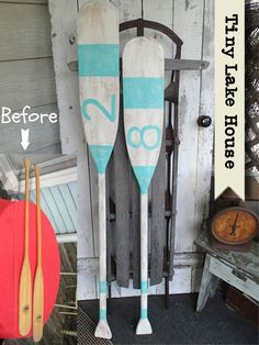 DIY painted oars for the lake house. https://www.facebook.com/TinyLakeHouse