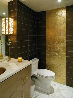 Walker Zanger Provided Susan Sager Interiors With The Rectangular Format  Wall Tiles Including The Strip Of Real Gold Leaf Tiles For The Guest Bath  That Also ...