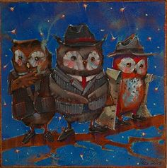 """Wise Guys by Angie Rees Acrylic ~ 8"""" x 8"""""""
