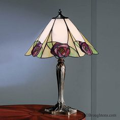 Tiffany Art Nouveau Table Lamp with Mackintosh Pink Rose, Bronze Base Stained Glass Lamp Shades, Stained Glass Light, Making Stained Glass, Tiffany Stained Glass, Stained Glass Projects, Tiffany Glass, Tiffany Art, Tiffany Table Lamps, Mosaic Glass