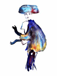Christian Dior 2 Fashion Illustration from Palettes of Fashion