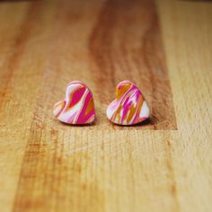 Heart Earrings  Pink and Gold Earrings Valentines by StudioPickles