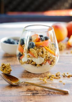 ... Peaches & Blueberries. Enjoy a healthy breakfast of yogurt, fresh