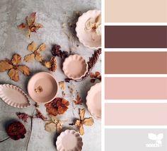 clay color palette [beige, dark brown, rustic, peachy pink, light peach, grey]