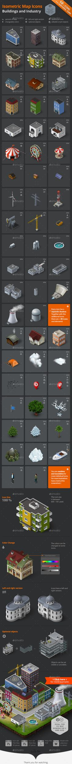 Isometric Map Icons - Buildings and Industry #design Download: http://graphicriver.net/item/isometric-map-icons-buildings-and-industry/13650864?ref=ksioks