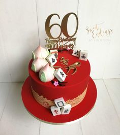 Longevity cake in red and gold. Langlebigkeitstorte in Rot und Gold. 60th Birthday Cake For Mom, Themed Birthday Cakes, Themed Cakes, 70 Birthday, Chinese Birthday, Chinese Cake, Dummy Cake, Surprise Cake, Red Cake