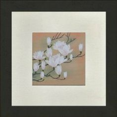 """Susho, King Silk Art 100% Handmade Silk Embroidery - White Magnolia Blossoms - White Mat Framed Regular Size 16001WF by King Silk Art. $29.98. 100% handmade, Creating Susho is a time-consuming process; it is completely handmade with tiny needles and naturally dyed, pure silk. No machines, paint, or glue are used.. Each King Silk Art design is 100% hand-stitched and thus valuable and unique. There may be slight variations from the online image.. 8""""x8"""" with mat only; 9.5""""x9..."""