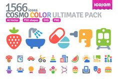1566 icons in Cosmo Color set by Icojam on Creative Market