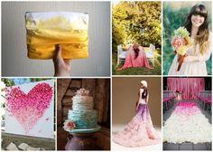 Wedding Trend Ombre; Wedding Trend Ombre; hand clutch- etsy.com seller Cheri Demeter; reception table- erineverafter.blogspot.com; hair- weddingchicks.com; art- botanicalpaperworks.com; cake- stylemepretty.com; dress- bravobride.com; aisle- bridalguide.com