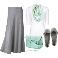 "#Modest doesn't mean frumpy. #DressingWithDignity www.ColleenHammond.com ""mint.gray.casual."" by countrygal97 on Polyvore"