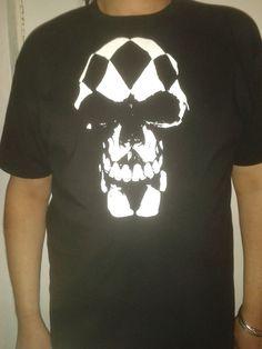Black Gothic Short/Long Sleeved T shirt Top Harlequin Skull design