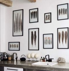RED REIDING HOOD: Kitchen wall framed feathers DIY idea home interior inspiration