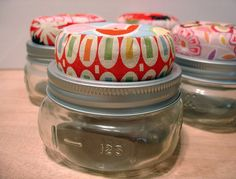 Pincushion jar - it uses canning jars - I keep buttons in mine.