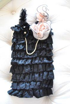 Petti Lace Baby Romper Black with Chiffon Strap. Precious!