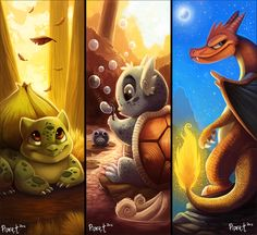 Bulbasaur. Wartortle. Charizard  by Cryptid-Creations