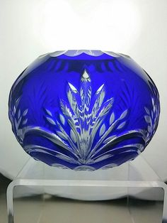 Cobalt Blue Cut to Clear Crystal Design Czech Bohemian Candle Holder Small Vase