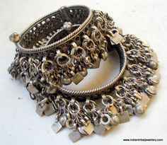 India | Set of old silver vintage bracelets from Rajasthan. | Worn by the Bajara women