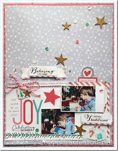 #papercraft #scrapbook #layout. Christmas-themed scrapbook page Daniela Dobson created with the Celebrating December stamp set and Folding Banners steel dies from TechniqueTuesday.com
