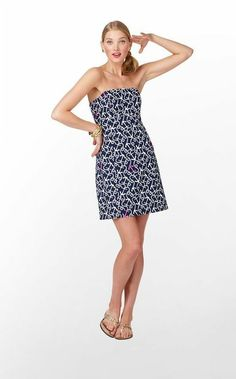 4b6976ca9b30f5 clearance Lilly Pulitzer Women's 6 Clyde Dress in Bright Navy Ahoy  strapless #fashion #clothing
