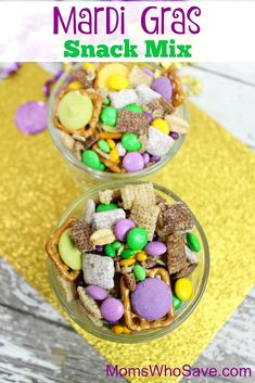 Do you celebrate Mardi Gras? Whether you're looking forward to a big celebration or not, this Mardi Gras mix is a fun and delicious addition to the day. Pork Chop Recipes, Oven Recipes, Tofu Recipes, Bread Recipes, Chickpea Recipes, Eggplant Recipes, Roast Recipes, Potato Recipes, Casserole Recipes